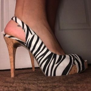 Guess Brand Zebra Heels (never worn)